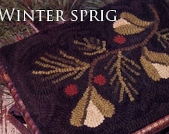 "Rug Hooking Pattern: - ""Winter Sprig"" designed by Renee Nanneman, Needle Love Designs"