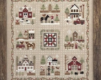 """Pattern: """" Farmhouse Christmas"""" Cross Stitch Quilt (9 part series)  by Little House Needleworks"""