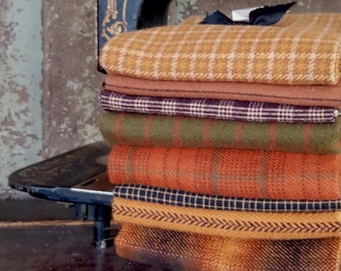 "Fabric: Bundle FQ Primo Plaids and Homespun - Fall Flannel Sampler 8pc - "" Fall Harvest"""