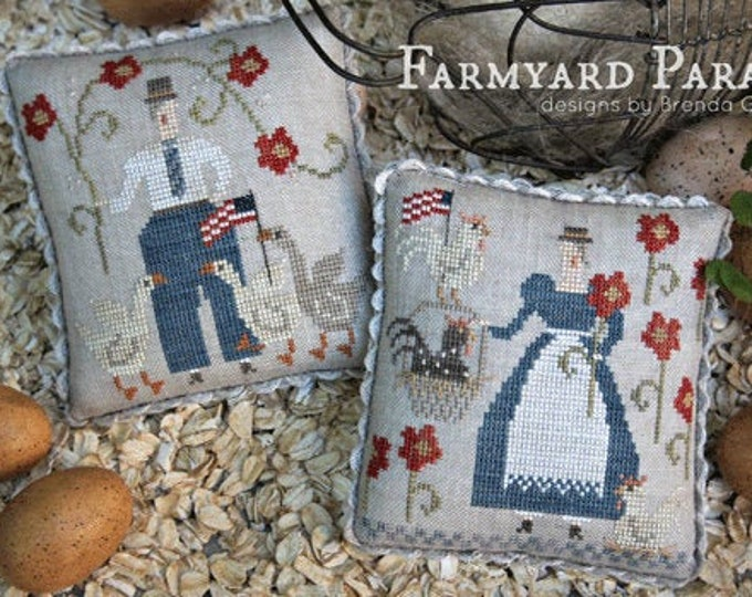 Pattern:  Farmyard Parade cross stitch pillows - With Thy Needle and Thread - Brenda Gervais