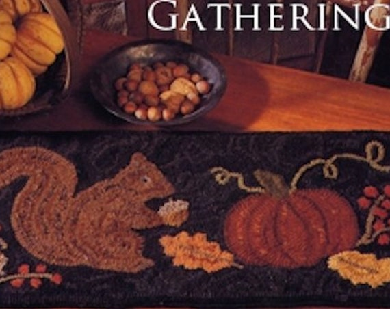"Pattern: Rug Hooking - ""Autumn Gatherings"" designed by Renee Nanneman of Needle Love Designs"