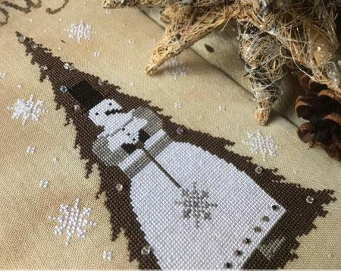 Pattern: Snowy Xmas Cross Stitch - by The Primitive Hare