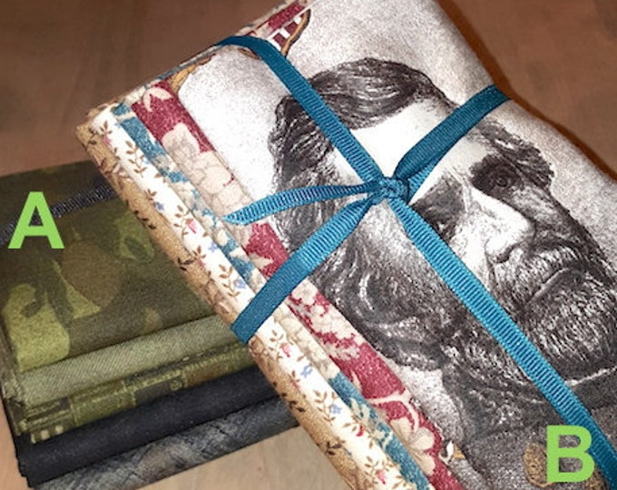 Fabric: Bundle HALF YD 5pc Sampler- Army Greens / Civil War