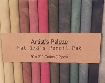 Fabric: Fat Eighth Pencil Pak- ARTISTS PALETTE MUSLINS/ 12- 9x22 inch pieces