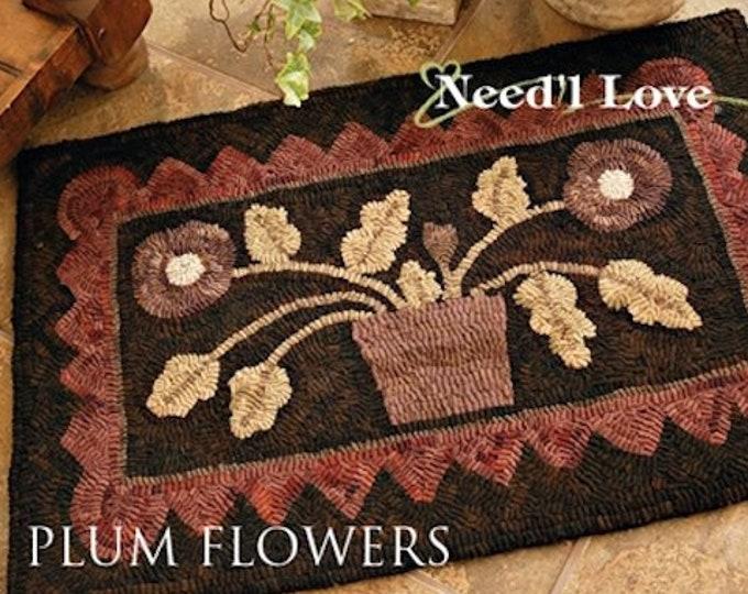 "Rug Hooking Pattern: - ""Plum Flowers"" designed by Maggie Bonanomi for Needle Love Designs"