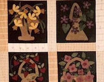 Pattern: Flower Baskets Wool Applique by Wooden Spool Designs
