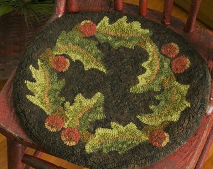 """Rug Hooking Pattern: - """"Holly Time"""" designed by Renee Nanneman, Needle Love Designs"""