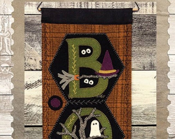 """Pattern & Button Kit: October  A Year of Hexi """"WORD"""" Door Greeters - """"BOO"""" by Buttermilk Basin"""