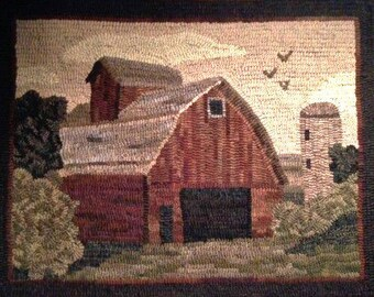 Pattern: Old Red Barn Rug Hooking Pattern by Cricket Street Wool
