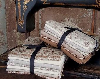Fabric: Bundle FQ 7pc Taupe & Wintergreen by Moda Fabrics