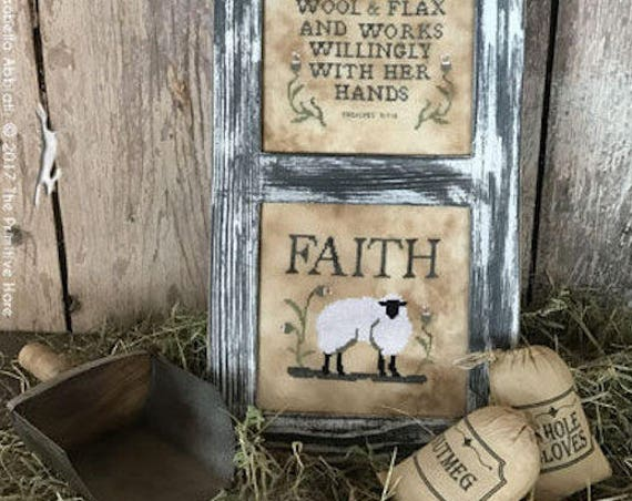 Pattern: Love and Faith Cross Stitch  by The Primitive Hare
