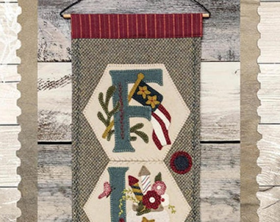 "Pattern & Button Kit: A Year of Hexi ""WORD"" Door Greeters - July ""FLAG"" by Buttermilk Basin"