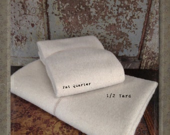 Wool: Fat Quarter or 1/4 yd 100% Wool - Cream