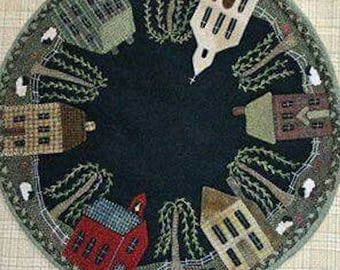 "Pattern: Wool Applique Table Mat ""Cricket Town, USA"" Pattern by Cricket Street Wool"