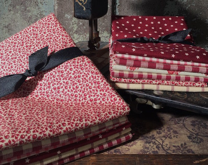 "Fabric: Bundle FQ/HALF YD ""Red Summer Farmhouse """
