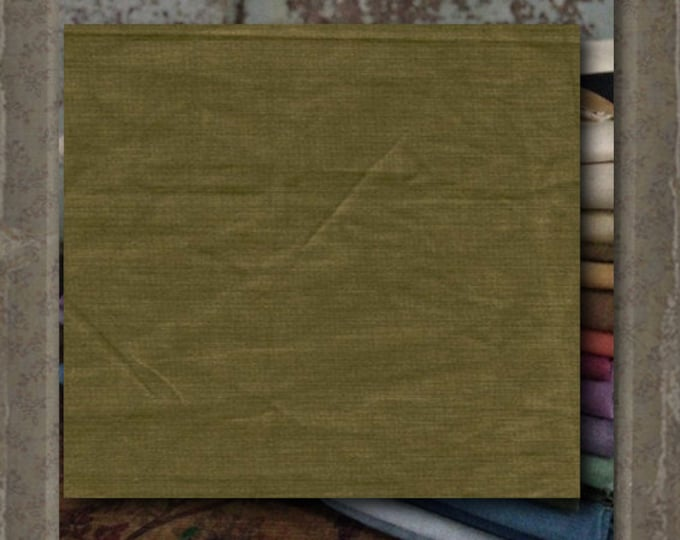 "Aged Muslin: ""Olive (new over-dyed cloth) - Color #7698-0116 Marcus Fabrics"