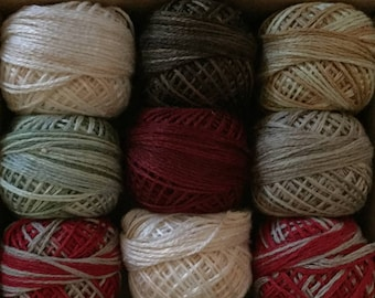 "Valdani Threads - ""Prim Holiday"" - Custom Collection Set/ 12 - 3 Strand Floss Hand Dyed Colorfast"
