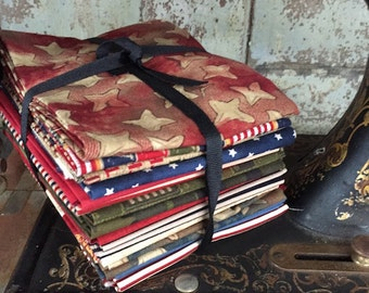 "Fabric: FAT QUARTER  15 pc. Bundle ""American Soldier"" Sampler Fabrics from Moda Fabrics"