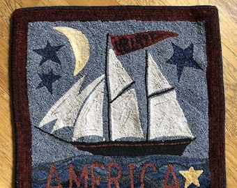 "Rug Hooking Pattern: - ""Liberty Ship"" designed by Renee Nanneman for Needle Love Designs"