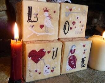 Pattern: Love Cubes - St. Valentine's Ornaments Cross Stitch - Primitive Hare