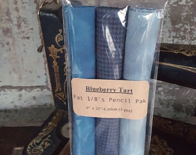 "Fabric: Fat Eighth Pencil Pak- ""Blueberry Tart""- 3- 9x22 inch  Flannel pieces"
