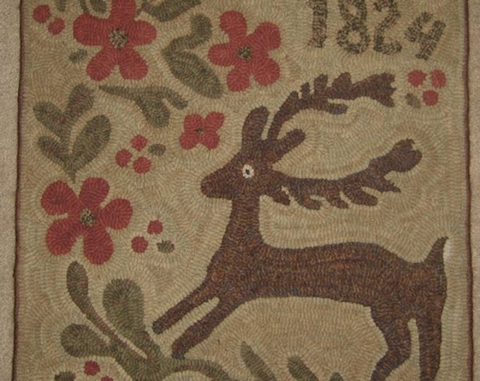 """Pattern: Primitive Rug Hooking Pattern - """"Enchanted"""" from Baskets of Wool"""