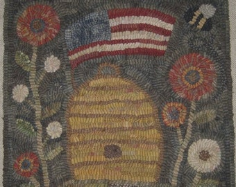 "Pattern: Primitive Rug Hooking Pattern - ""Americana Beehive"" from Baskets of Wool"