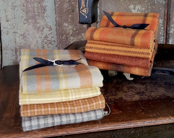 "Fabric: Bundle FQ Flannel 4pc Samplers - ""Pumpkin"" and ""Straw"" - by Marcus Fabrics"