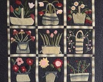 """Pattern: """"Little Wooly Baskets"""" Wall Quilt by Linen Closet Designs"""