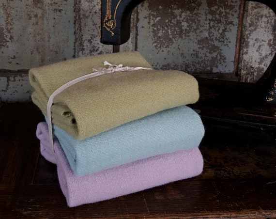 "Wool Bundle: 16"" x 20"" Pastel 3pc Sampler Bunny Hill Wools for Moda"