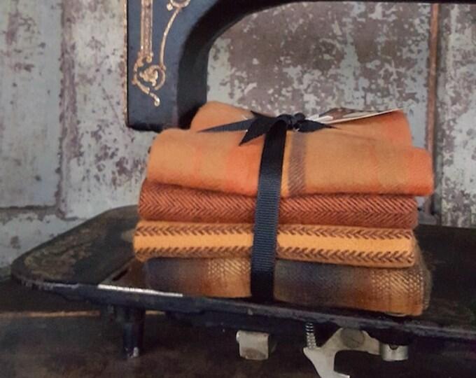 "Fabric: Bundle FQ Flannel 4pc ""Pumpkin"" Sampler by Marcus Fabrics"