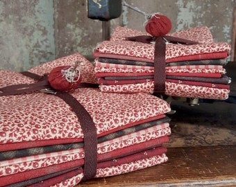 "Fabric: Bundle FQ / HALF YD 9pc Sampler - ""Choclate Cherries"""