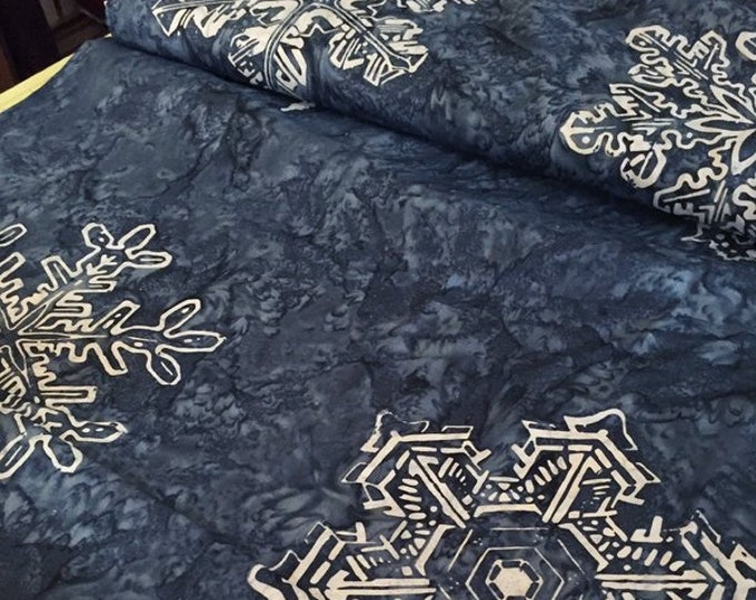 Fabric: 2 YARD Pre cut - Batik Snowflakes - Winter Blue