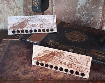 Notions: Vintage Bird Thread Organizer Ruler by Retromantic Fripperies