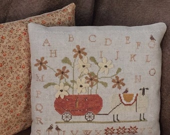 Handmade: Boo and Baa-bbie Cross Stitch Pillow - Handsitched Finished Pillow
