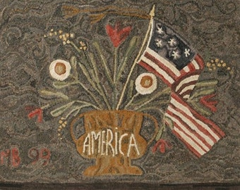 "Rug Hooking Pattern: - ""American Floral"" designed by Maggie Bonanomi for Needle Love Designs"