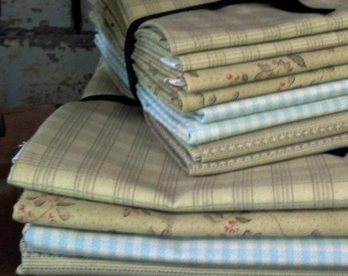 Fabric: Bundle FQ/Half Yard Sampler - Green/Blue Selection - Lecien Fabric