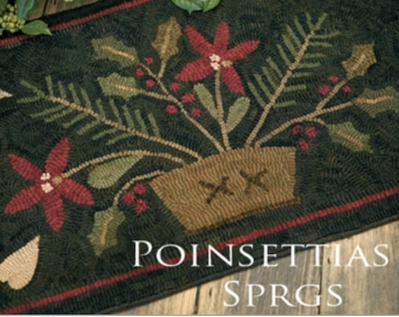 "Pattern: Rug Hooking Pattern ""Pointsettias & Sprigs"" by Maggie Bonanomi for Needle Love Designs"