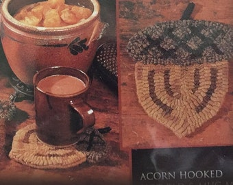 "Pattern: Rug Hooking - ""Acorn Hot pad"" by Renee Nanneman of  Needle Love Designs"