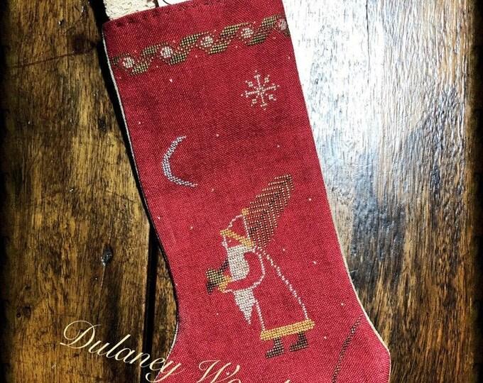 "Pattern: Cross Stitch ""Christmas Stocking #2 - Santa"" - Dulaney Woods Treasures"
