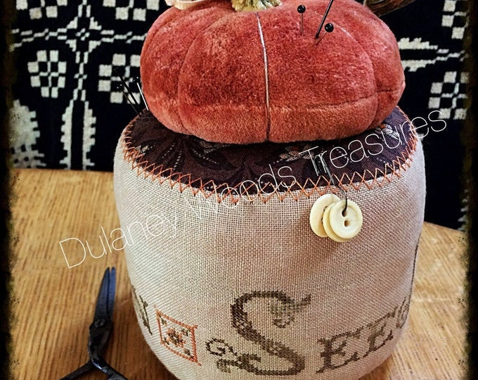 "Pattern: Cross Stitch ""Pumpkin Seeds Pinkeep Drum"" - Dulaney Woods Treasures"