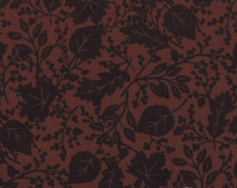 Fabric HALF YARD: Give Thanks - Brown Walnut Leaf Pattern by Deb Strain fir Moda Fabrics