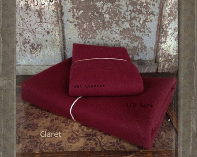 Wool: Fat Quarter or 1/4 yd 100% Wool - CLARET - Marcus Fabrics