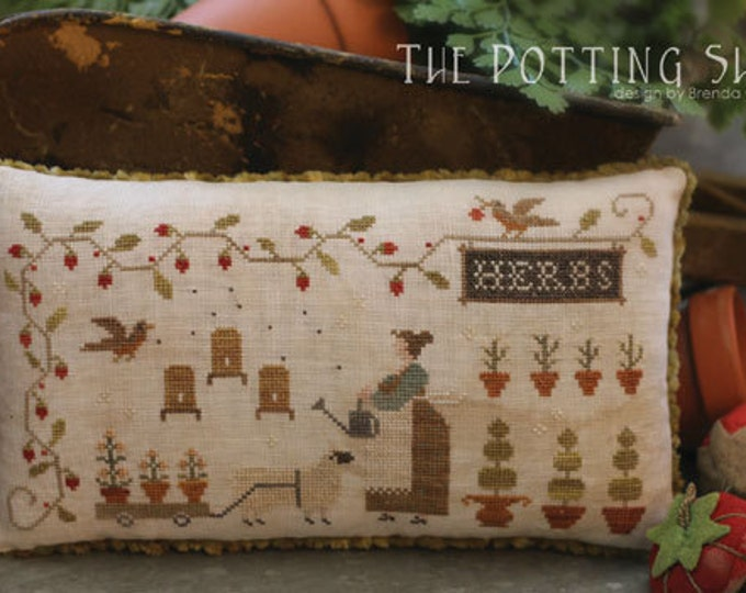 Pattern: The Potting Shed Cross Stitch Pillow - Country Stitches - With Thy Needle and Thread - Brenda Gervais