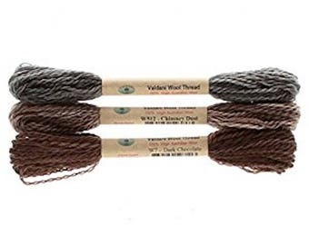 "Floss & Threads: Wool Floss by Valdani Set/3 ""Primitives"" - Size 8 - Hand Dyed Colorfast"