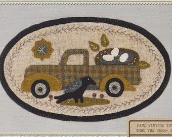 Pattern: May Mini Vintage Truck Thru the Year - Nest, by Buttermilk Basin