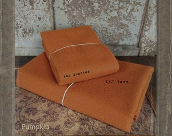 Wool: Fat Quarter or 1/4 yd. 100% Wool - PUMPKIN - Marcus Fabrics