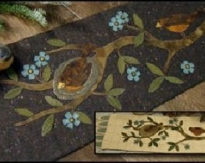 """Wool Kit and Pattern: """"Patiently Waiting"""" Table Runner by Primitive Gatherings"""