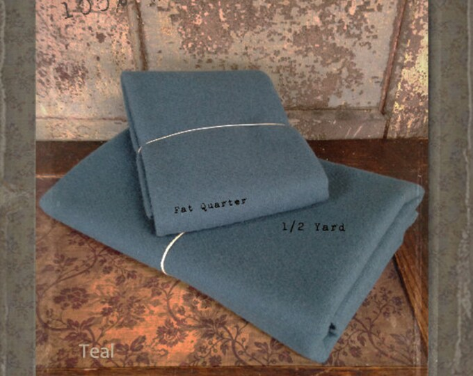 Wool: Fat Quarter or 1/4 yd 100% Wool - TEAL - Marcus Fabrics