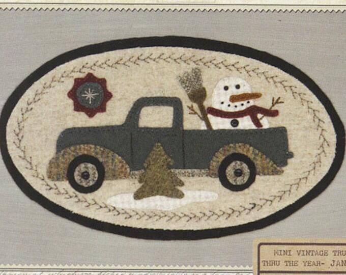 Pattern: January Mini Vintage Truck Thru the Year - Snowmen, by Buttermilk Basin